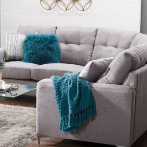 🌟 Knit Throw with Fringe Teal